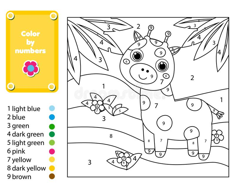 Игра детей воспитательная Страница расцветки с жирафом в джунглях Цвет номерами, printable деятельность бесплатная иллюстрация