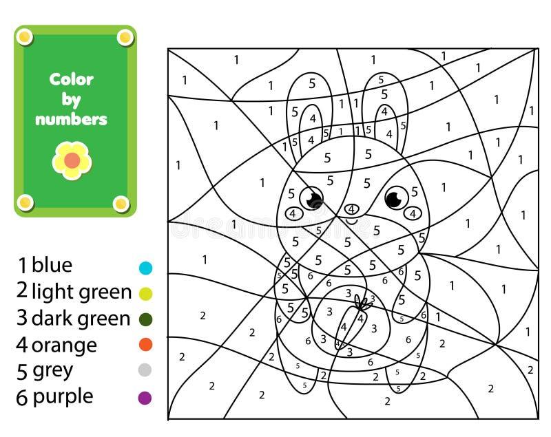 Игра детей воспитательная Страница расцветки с кроликом Цвет номерами, printable деятельность иллюстрация вектора