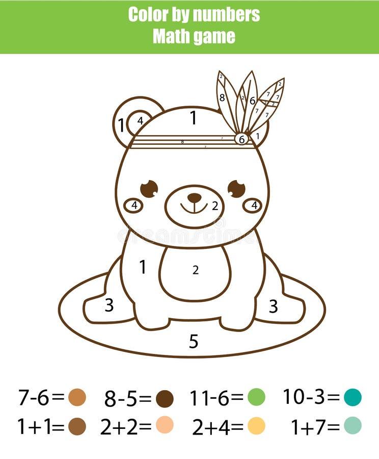 Игра детей воспитательная Actvity математики Цвет номерами, printable рабочее лист Страница расцветки с милым медведем иллюстрация вектора