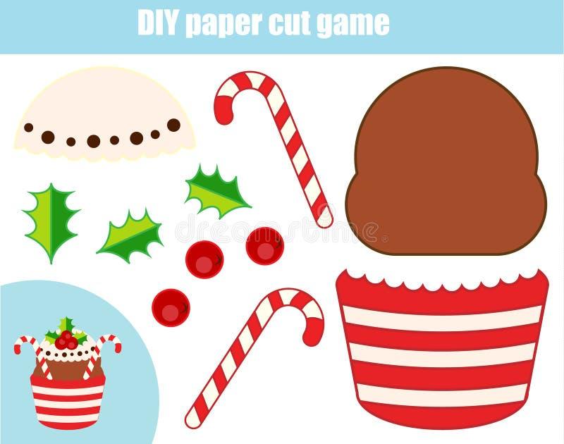 Игра детей DIY воспитательная творческая Бумажная деятельность при вырезывания Сделайте Новый Год, пирожное рождества с клеем иллюстрация штока