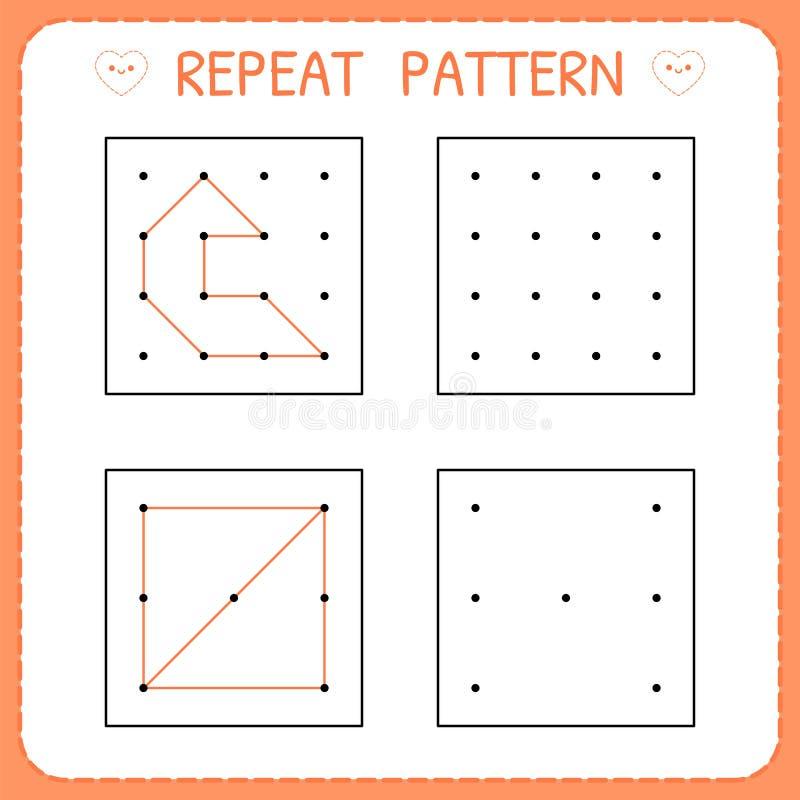 Игра детского сада воспитательная для детей Картина повторения Preschool рабочее лист для практикуя двигательных навыков Работая  бесплатная иллюстрация