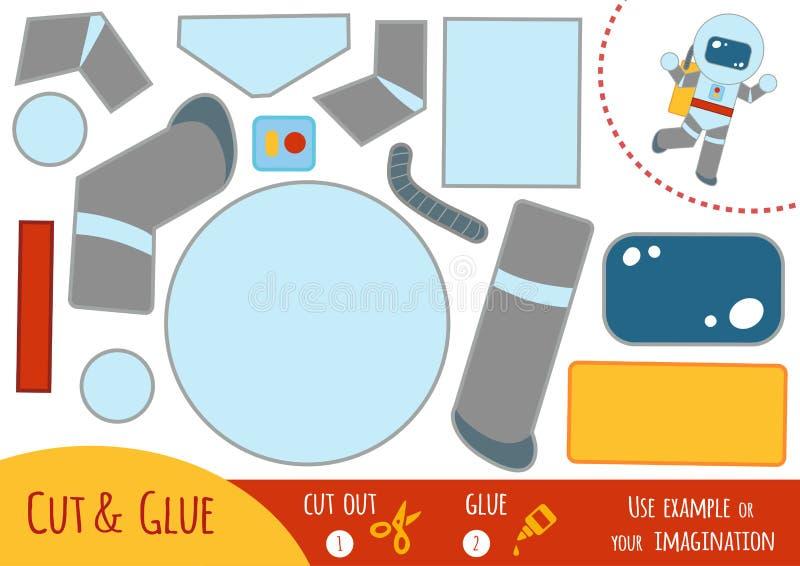 Игра для детей, астронавт образования бумажная иллюстрация вектора