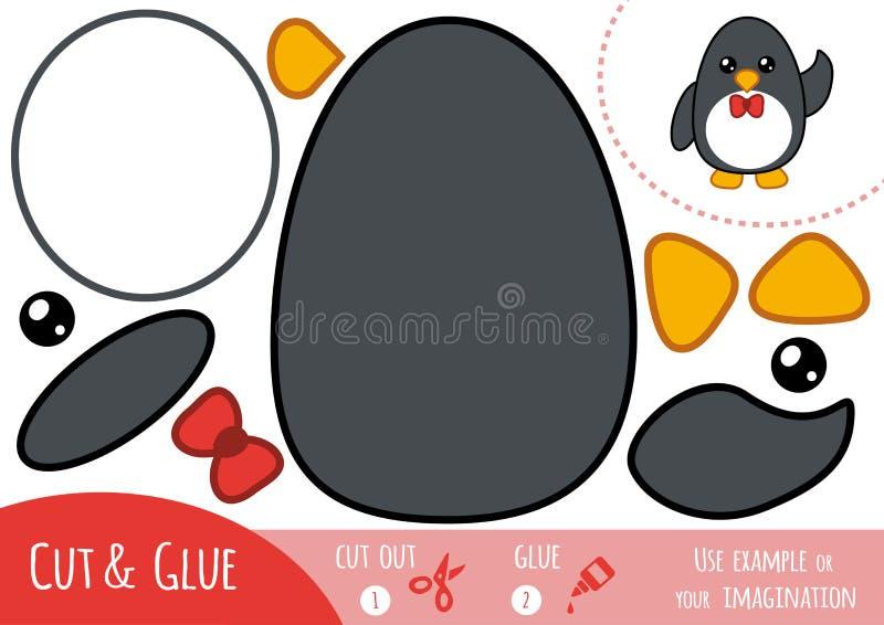 Игра для детей, пингвин образования бумажная