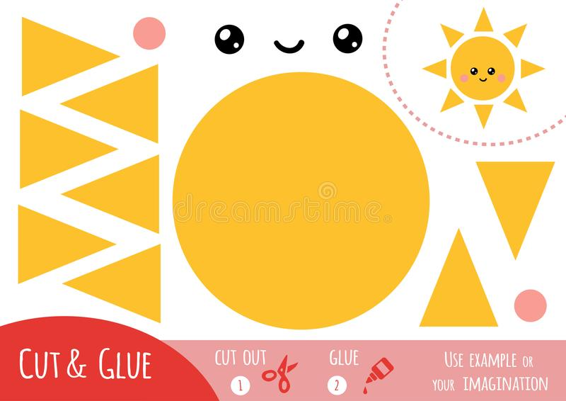 Игра для детей, Солнце образования бумажная иллюстрация штока
