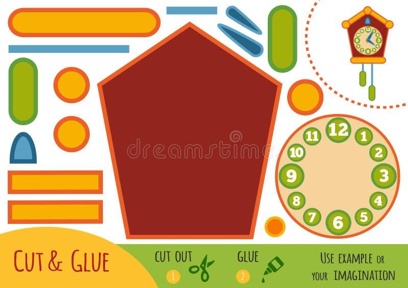 Игра для детей, часы с кукушкой образования бумажная бесплатная иллюстрация