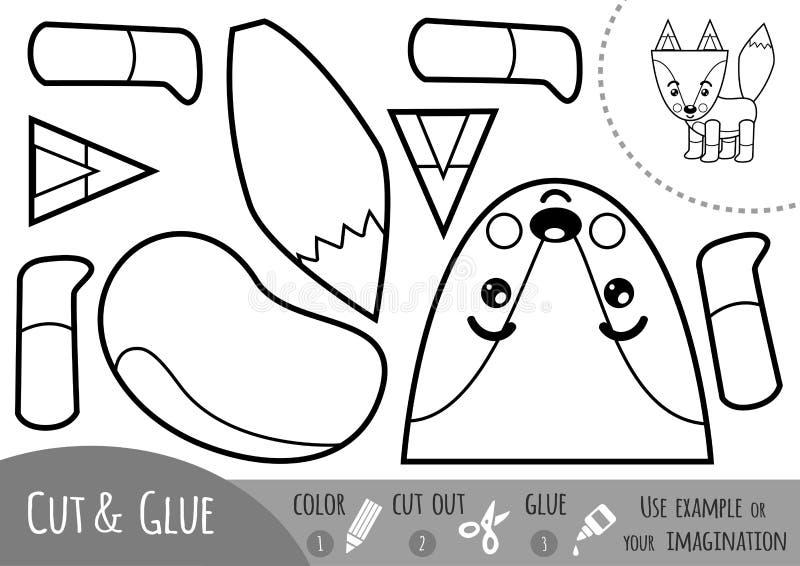 Игра для детей, Fox образования бумажная иллюстрация штока