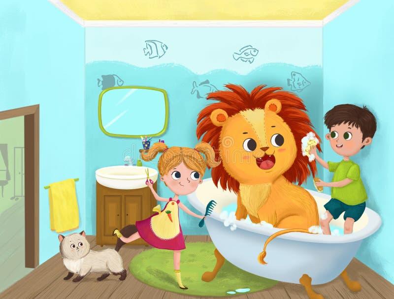 Игра детей в ванной комнате стоковые фотографии rf