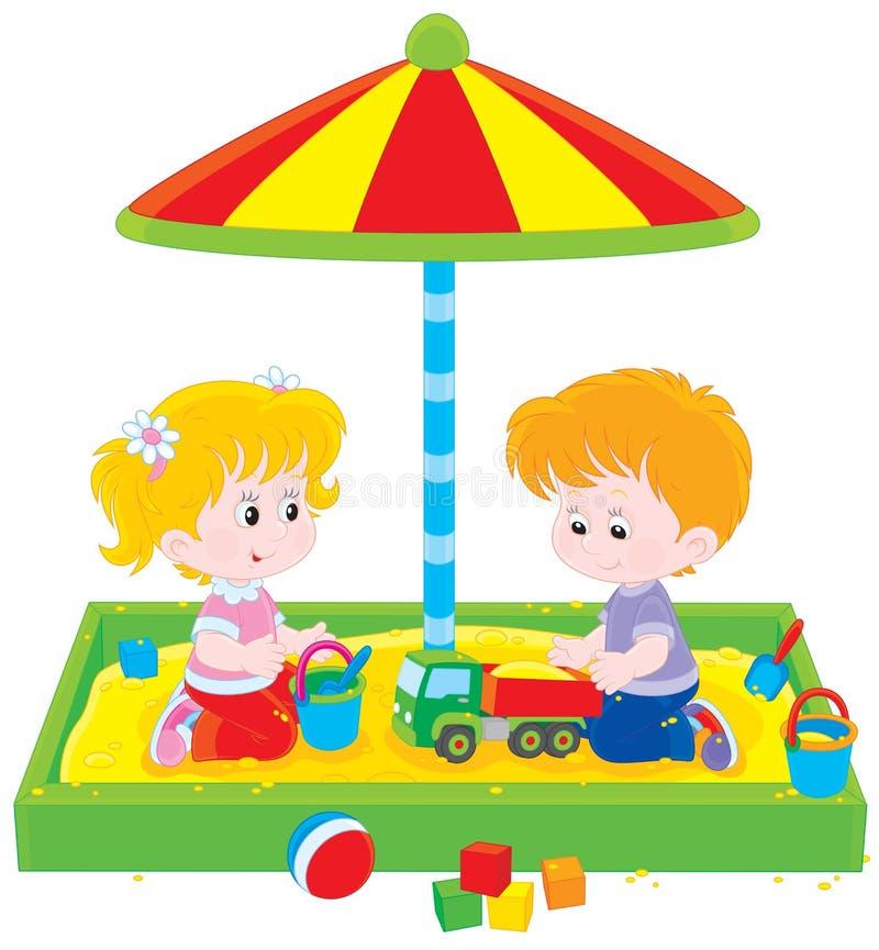 Игра детей в ящике с песком иллюстрация штока