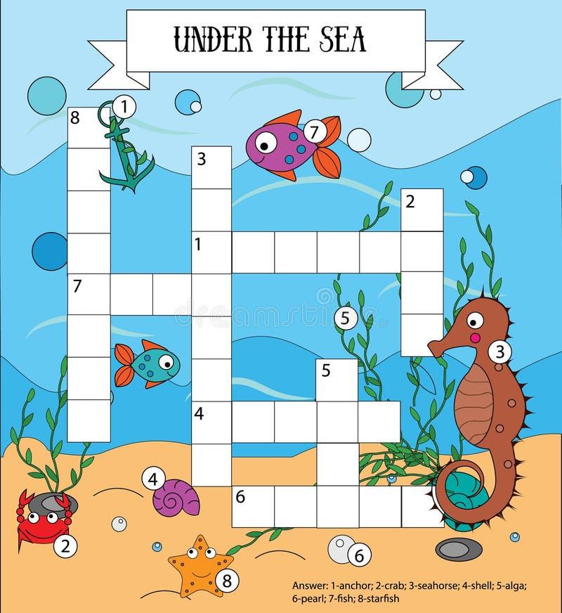 Игра детей кроссворда воспитательная с ответом Море, морская флора и фауна и тема животных бесплатная иллюстрация