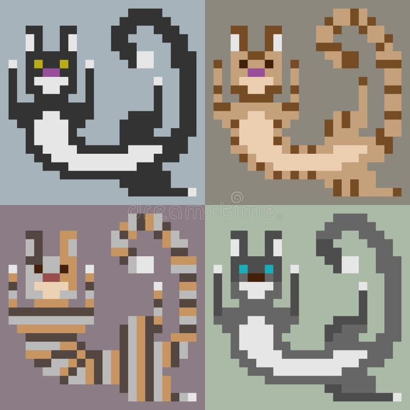 Игра кота искусства пиксела иллюстрации стоковое изображение