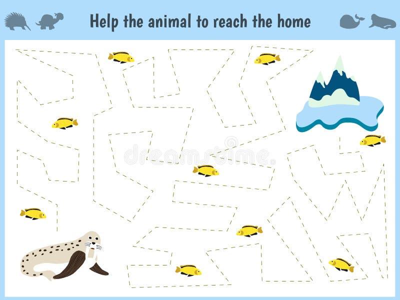 Игра лабиринта Воспитательная игра шаржа детей для детей времени preschool Помогите находить домой к ледовитым моржу и гонорару иллюстрация вектора