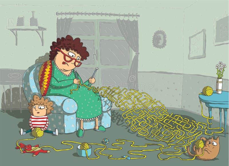 Игра лабиринта вязания крючком бабушки иллюстрация вектора