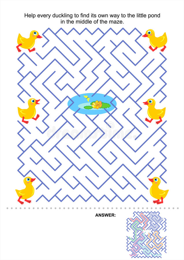 Игра лабиринта для малышей - утята и пруд иллюстрация штока