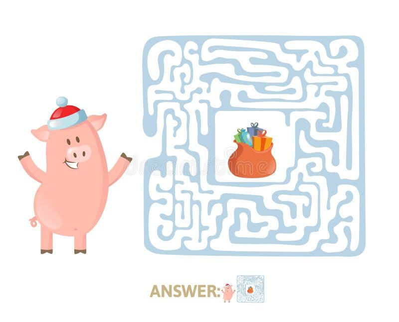 Игра лабиринта зимы Лабиринт со смешным Piggy характером и ответом Плоская иллюстрация вектора Изолировано на белизне иллюстрация штока