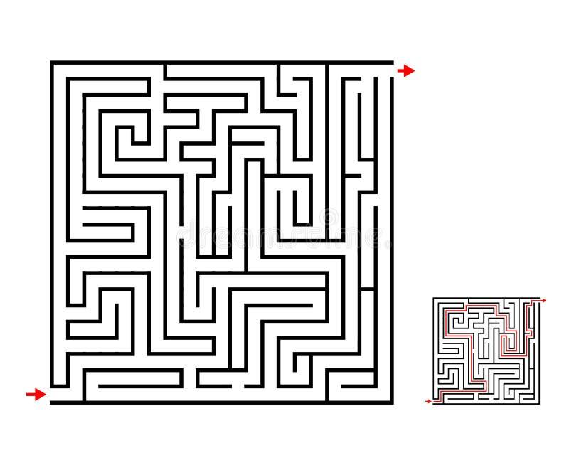 Игра лабиринта и лабиринта, дизайн вектора на белизне иллюстрация штока
