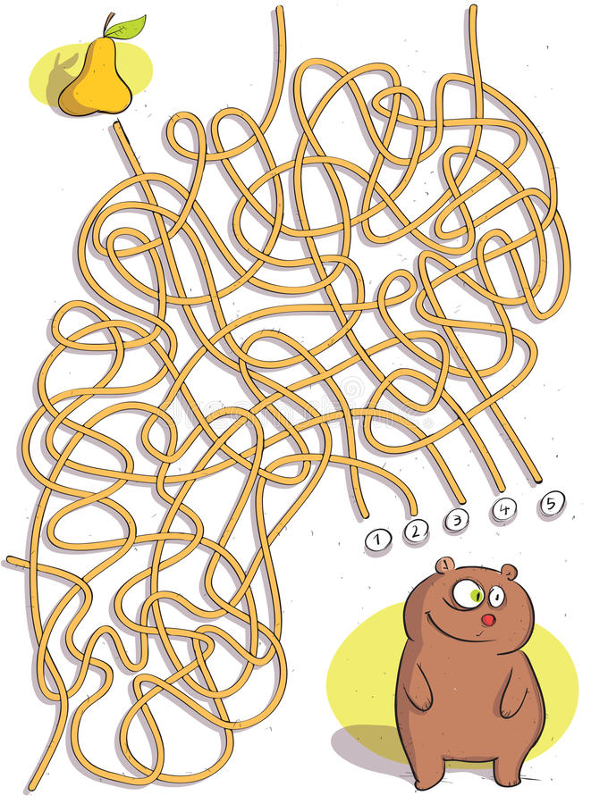 Игра лабиринта медведя иллюстрация штока