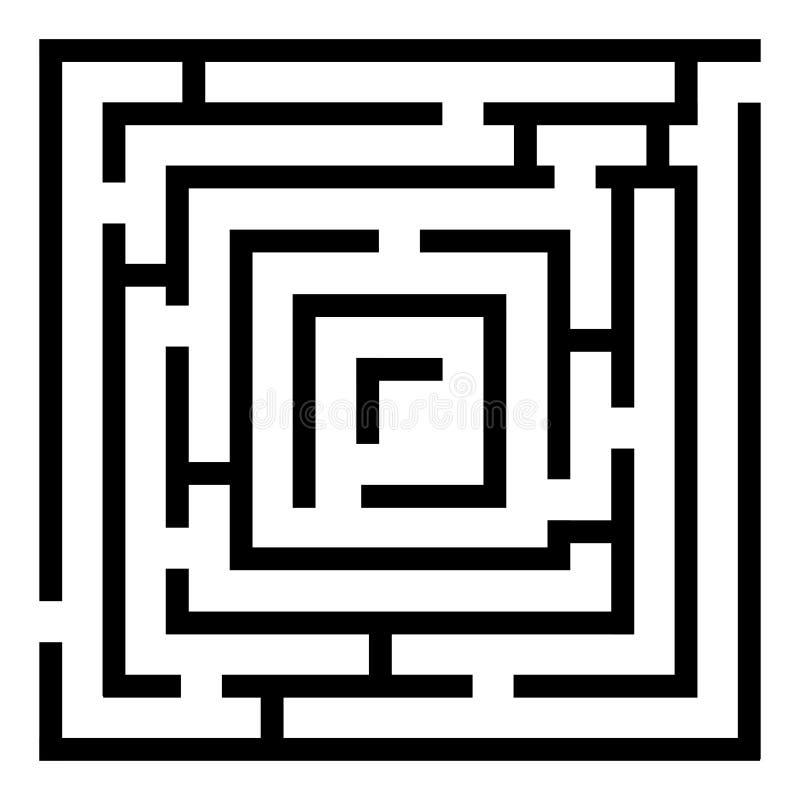 Игра лабиринта прямоугольника, головоломка лабиринта, изолированная на белом backgrou иллюстрация вектора