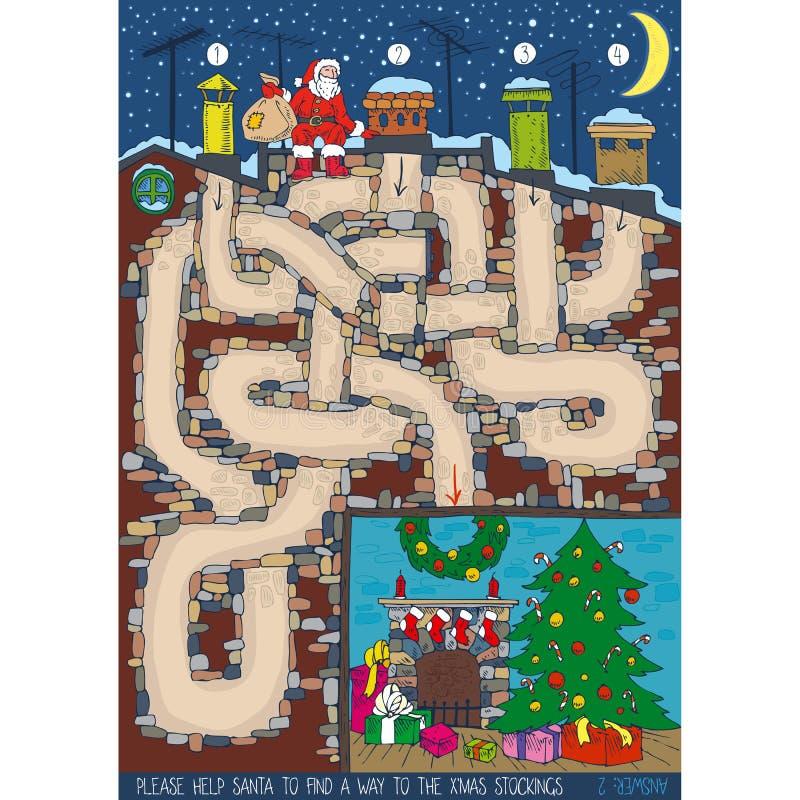 Игра лабиринта рождества иллюстрация вектора