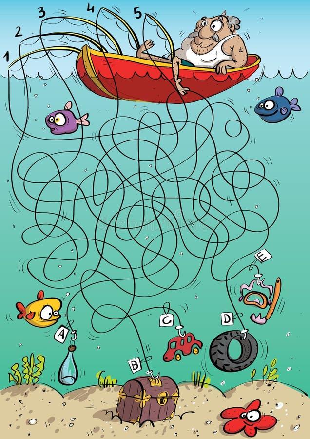 Игра лабиринта рыболова бесплатная иллюстрация