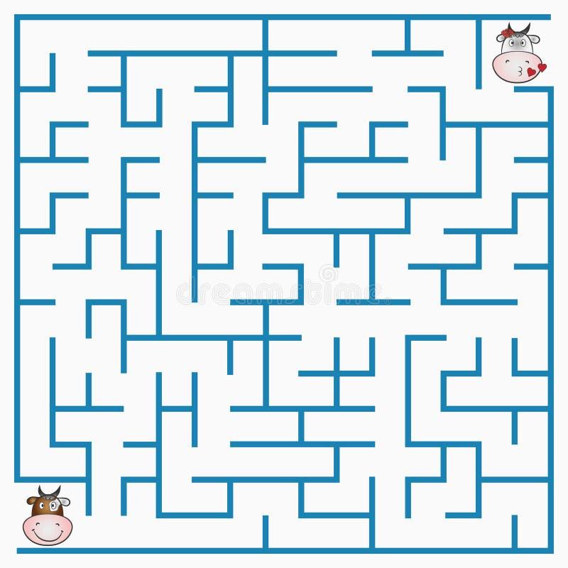 Игра лабиринта с коровой для детей, геометрический лабиринт с входом и выход вектор иллюстрация вектора