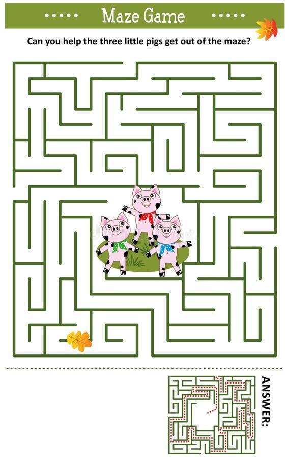 Игра лабиринта с 3 маленькими свиньями иллюстрация вектора