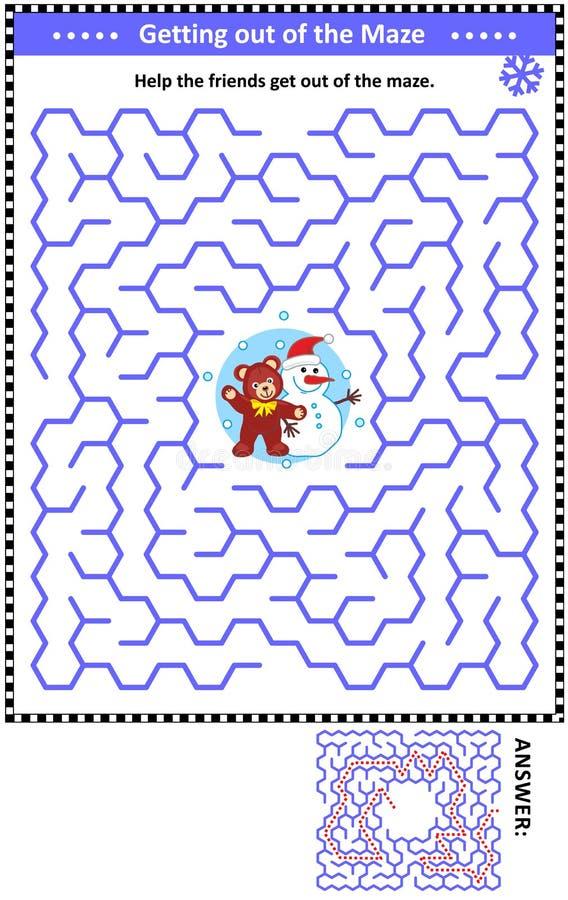 Игра лабиринта с плюшевым медвежонком и снеговиком иллюстрация штока