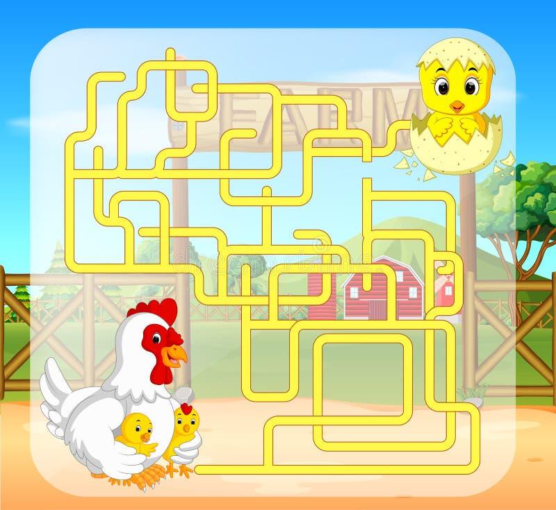 Игра лабиринта с цыпленком бесплатная иллюстрация