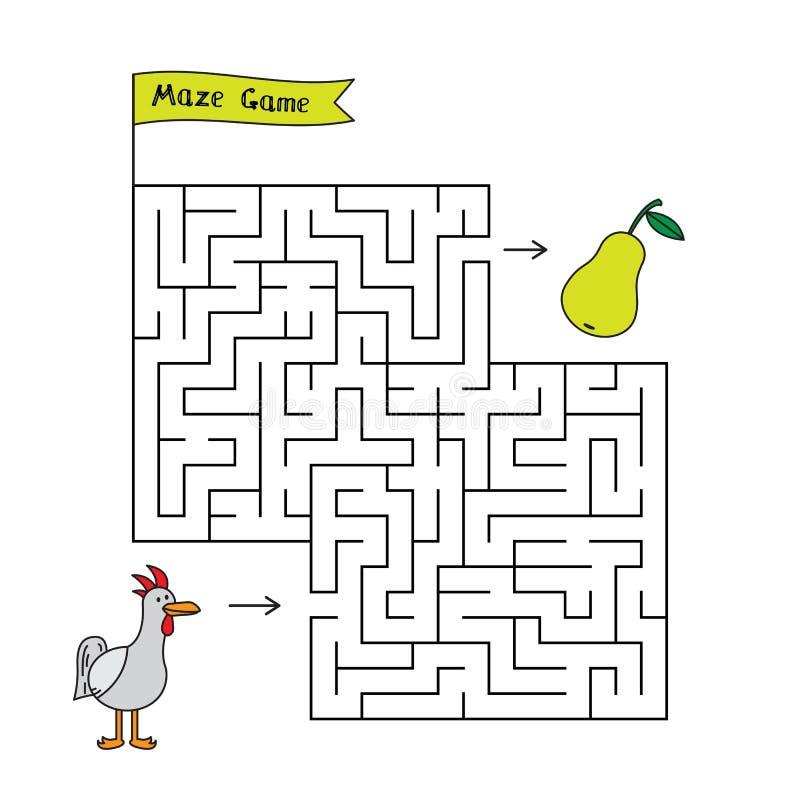 Игра лабиринта цыпленка шаржа иллюстрация вектора
