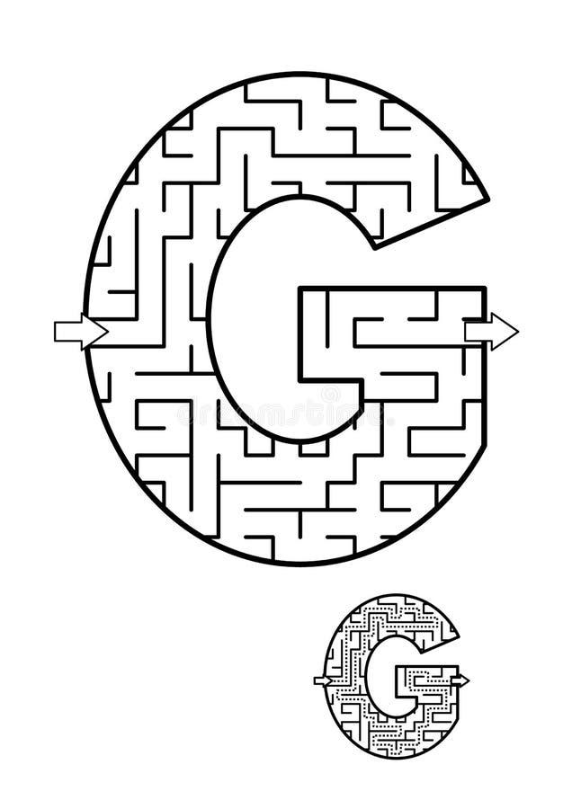 Игра лабиринта g письма для детей иллюстрация штока
