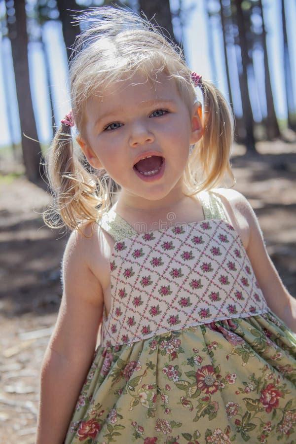Игра маленькой девочки в древесинах стоковые изображения