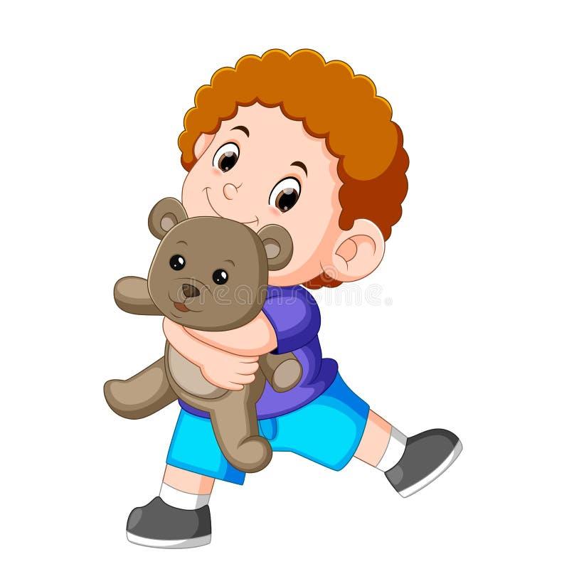 Игра мальчика счастливая с серой плюшевым мишкой иллюстрация штока