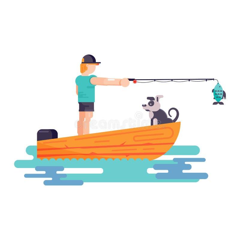 Игра мальчика человека с иллюстрацией собаки или щенка характера любимца лучшего друга Семья играя с животным doggie изолированны иллюстрация штока
