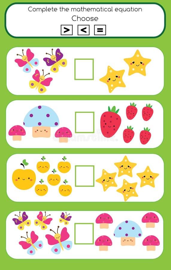 Игра математики воспитательная для детей Завершите математически уровнение выберите больше, более менее или равный иллюстрация штока