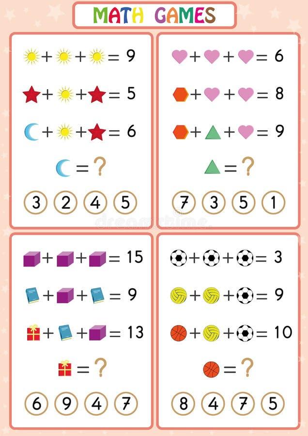 Игра математики воспитательная для детей, рабочих листов потехи для детей, детей учит разрешить проблемы иллюстрация вектора