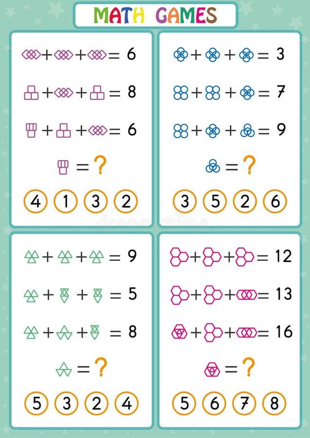 Игра математики воспитательная для детей, рабочих листов потехи для детей, детей учит разрешить проблемы иллюстрация штока