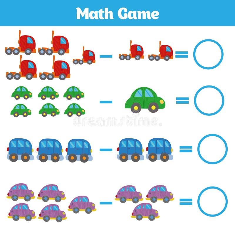 Игра математики воспитательная для детей уча рабочее лист вычитания для детей, считая деятельность r стоковая фотография rf