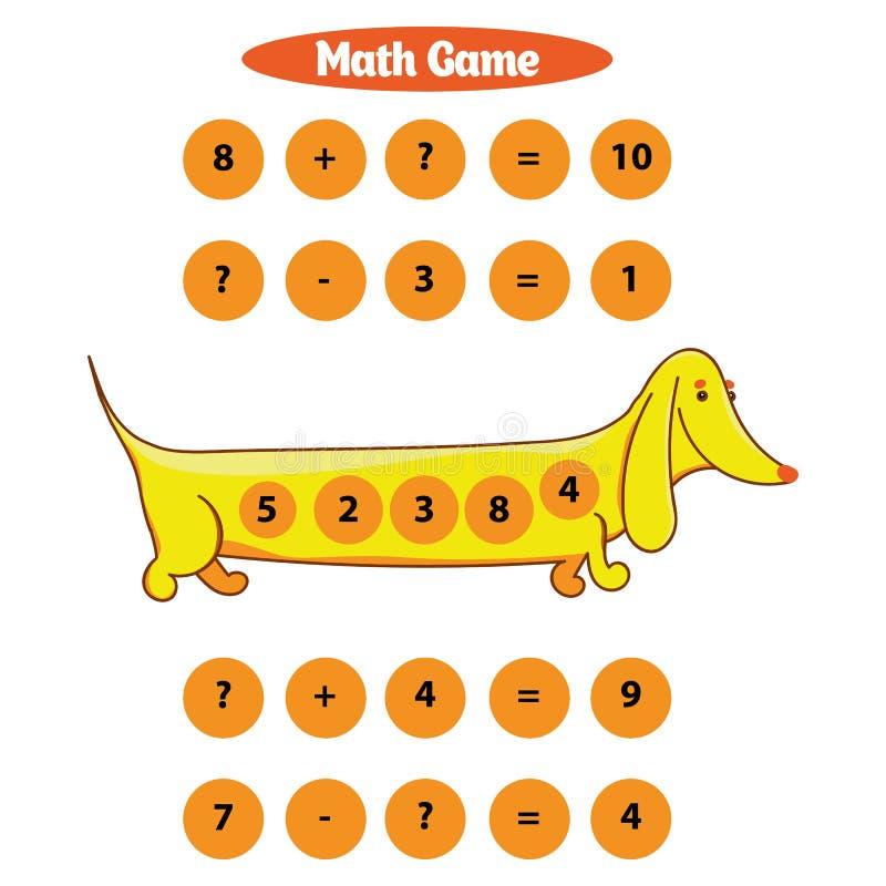 Игра математики воспитательная для иллюстрации вектора детей стоковое изображение