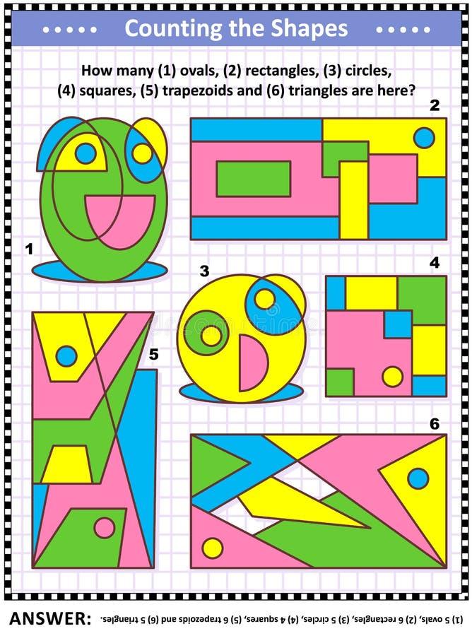Игра математики с основными формами - подсчитайте овалы, прямоугольники, круги, квадраты, трапецоиды и треугольники иллюстрация штока