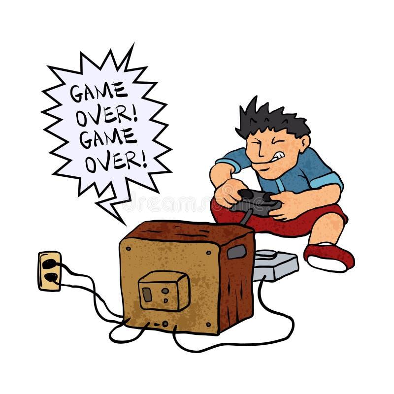 игра мальчика играя видео иллюстрация штока