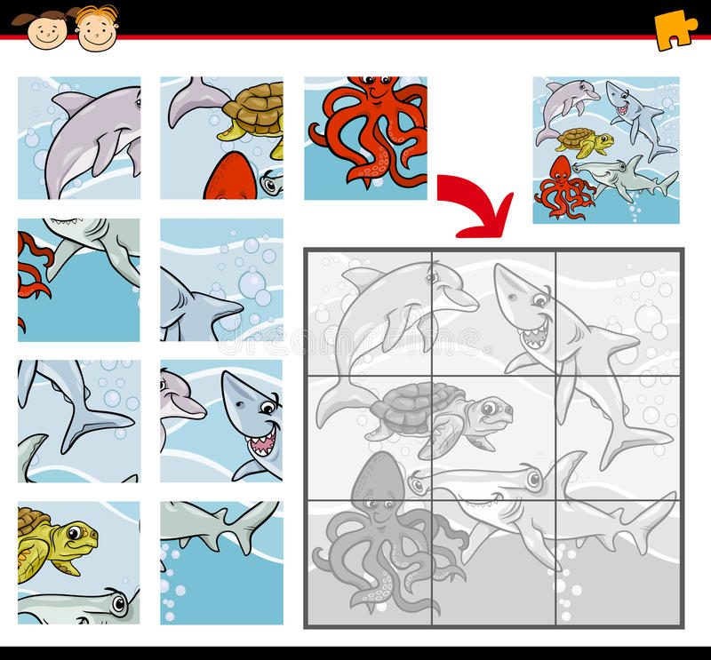 Игра мозаики животных шаржа иллюстрация вектора