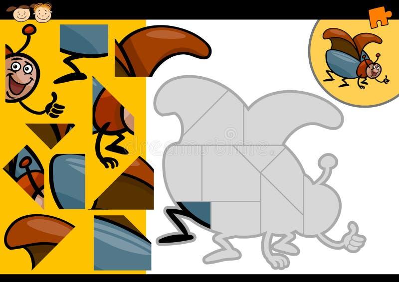 Игра мозаики жука шаржа иллюстрация штока