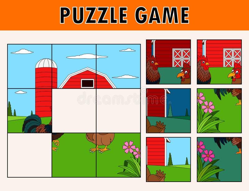 Игра мозаики с петухом и курицей бесплатная иллюстрация