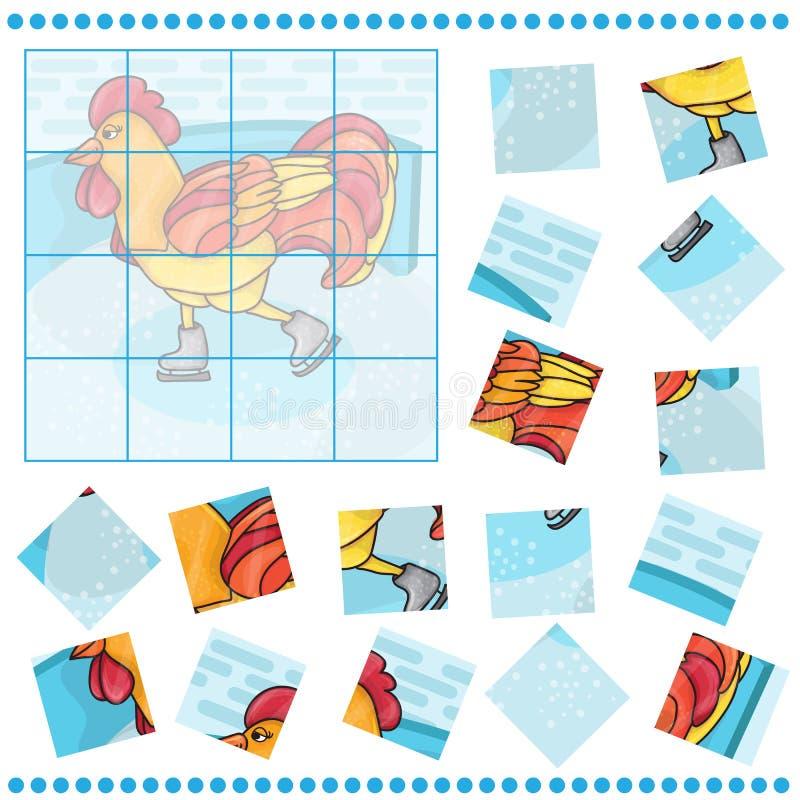 Игра мозаики для птицы петуха детей иллюстрация штока