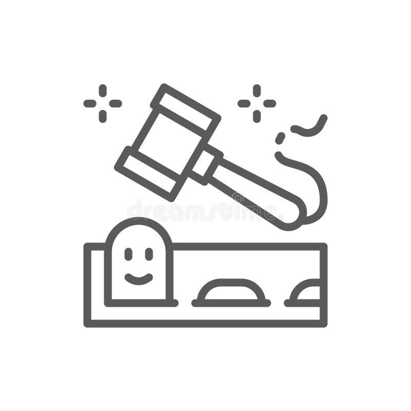 Игра моли сильный удар с линией значком молотка иллюстрация вектора