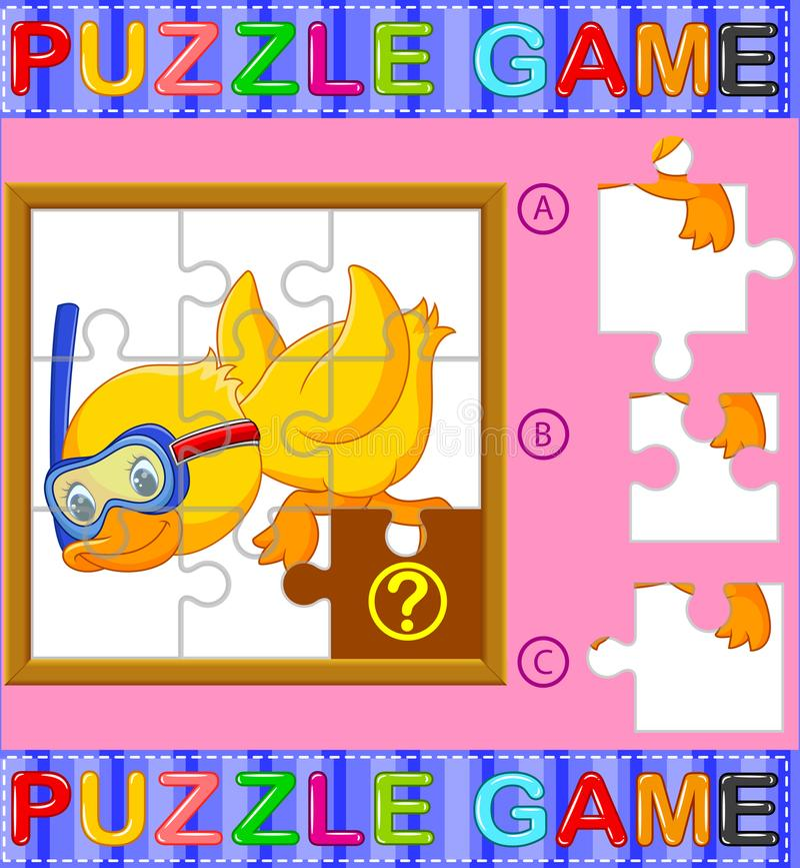 Игра образования мозаики для детей дошкольного возраста с уткой иллюстрация вектора
