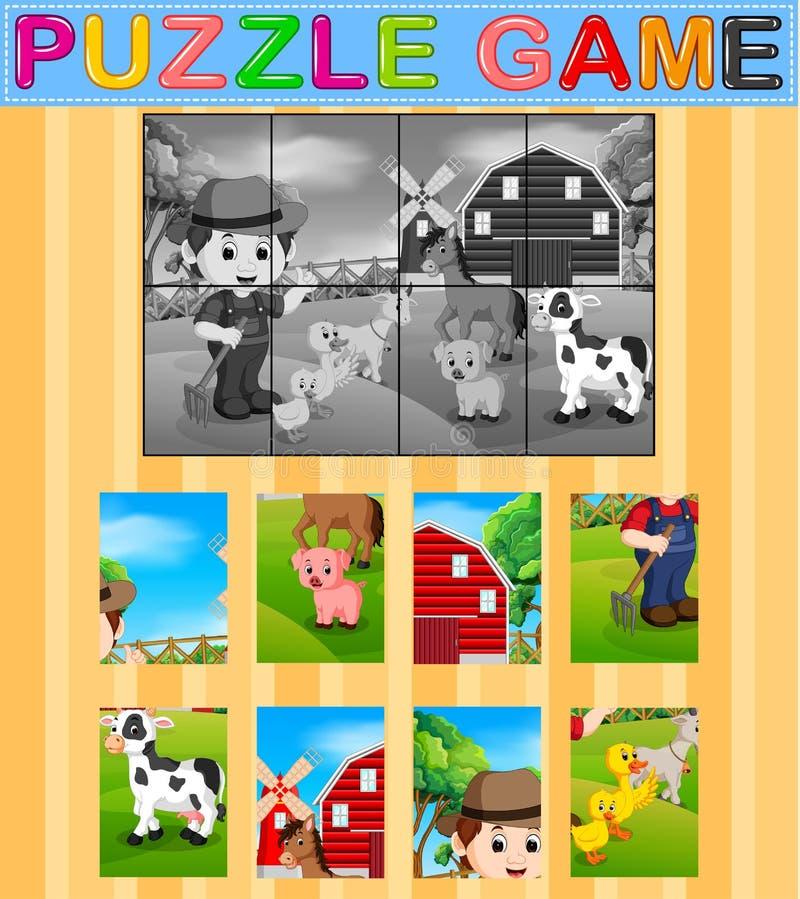 Игра образования мозаики для детей дошкольного возраста с предпосылкой фермы иллюстрация вектора