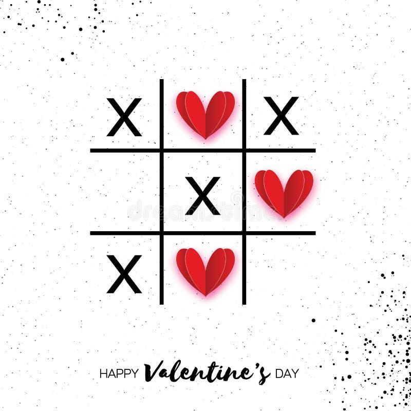Игра пальца ноги Tic tac с крестом criss и красной бумагой отрезала сердца иллюстрация вектора