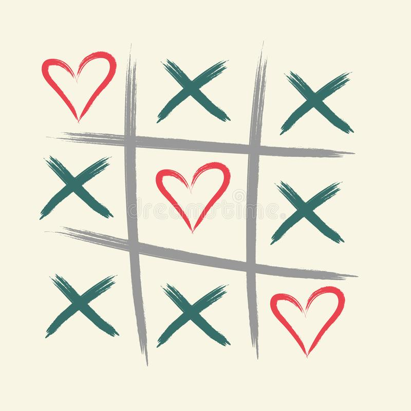 Игра пальца ноги Tic tac с крестом criss и меткой знака сердца XOXO Щетка нарисованная рукой valentines дня карточки счастливые - иллюстрация вектора