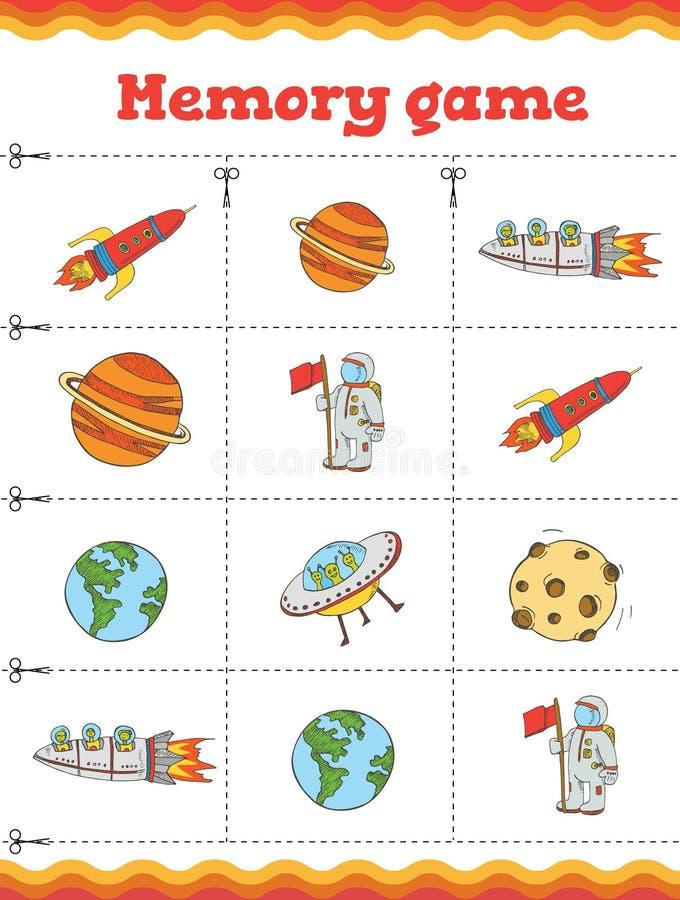 Игра памяти для детей дошкольного возраста, карточек вектора с elemets космоса также вектор иллюстрации притяжки corel бесплатная иллюстрация