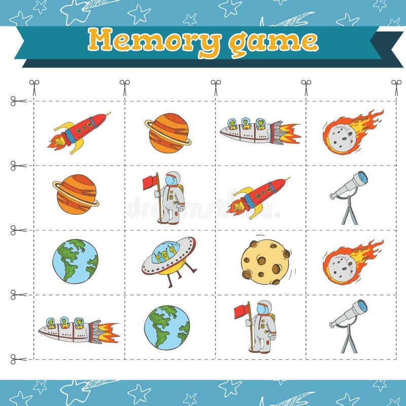 Игра памяти для детей дошкольного возраста, карточек вектора с elemets космоса также вектор иллюстрации притяжки corel иллюстрация вектора